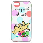 Funny Yellow Labrador Cartoon Polka Dot iPhone 5C Cases