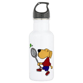 Funny Yellow Labrador Dog Playing Tennis Cartoon Stainless Steel Water Bottle