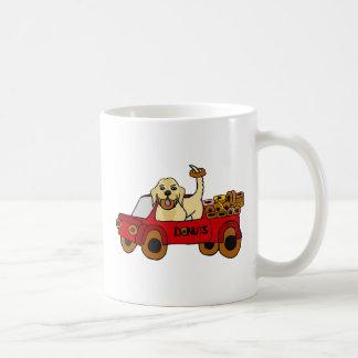 Funny Yellow Labrador Retriever in Donut Truck Coffee Mug