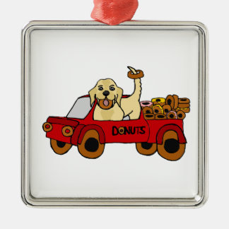 Funny Yellow Labrador Retriever in Donut Truck Metal Ornament