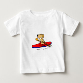 Funny Yellow Labrador Retriever Kayaking Baby T-Shirt