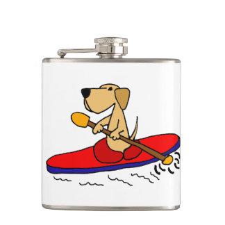Funny Yellow Labrador Retriever Kayaking Hip Flask