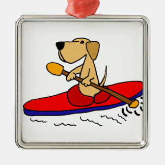 Funny Yellow Labrador Retriever Kayaking Christmas Tree Ornaments