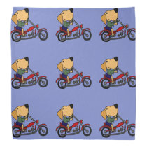 Funny Yellow Labrador Retriever on Motorcycle Bandana