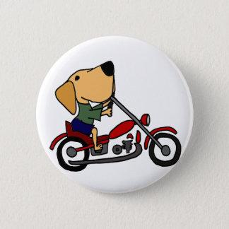 Funny Yellow Labrador Retriever on Motorcycle Button