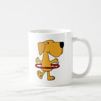 Funny Yellow Labrador Retriever Playing Hula Hoop Coffee Mug