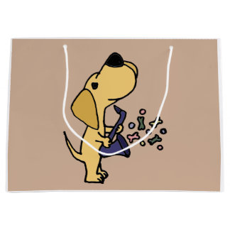 Funny Yellow Labrador Retriever Playing Saxophone Large Gift Bag