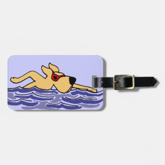 Funny Yellow Labrador Swimming Tags For Luggage