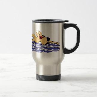 Funny Yellow Labrador Swimming Travel Mug