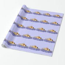 Funny Yellow Labrador Swimming Wrapping Paper