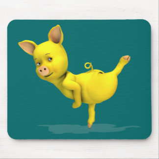 Funny Yellow Pig Arabesque Mouse Pad