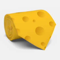 Funny yellow swiss cheese novelty party neck tie