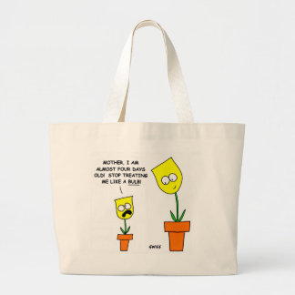 Funny Yellow Tulips Cartoon Mother and Child Humor Large Tote Bag