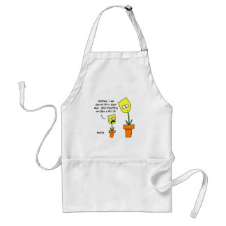 Funny Yellow Tulips Cartoon Mother Daughter Humor Adult Apron