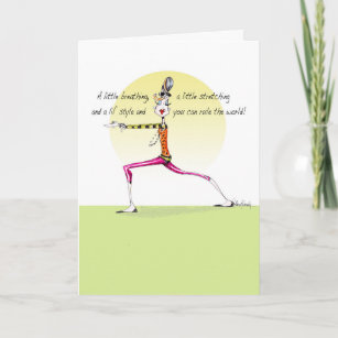 Funny Yoga Pose Woman Birthday Card