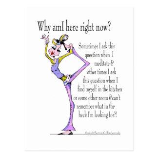 Funny yoga pose, yoga humor postcard
