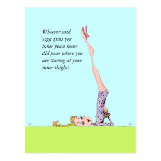 Funny yoga postcard with funny yoga humor!