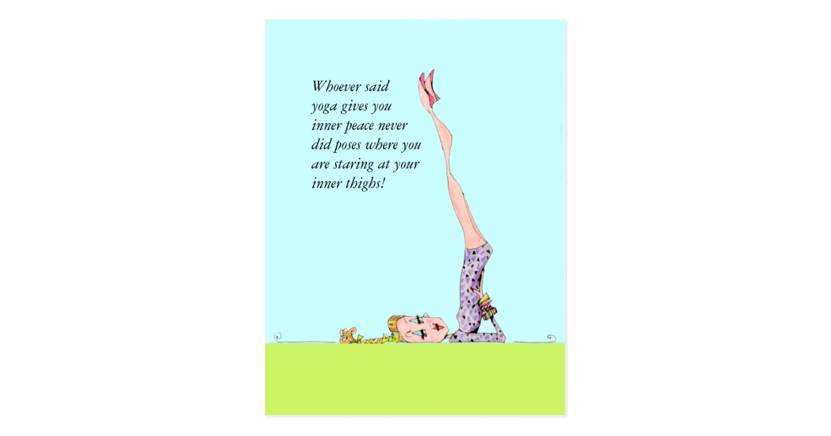 Funny yoga postcard with funny yoga humor!   Zazzle