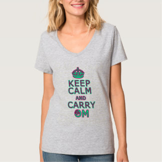 Funny yoga shirt Keep Calm Carry Om  (pink & green