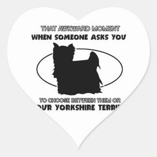 Funny yorkshire terrier designs heart sticker