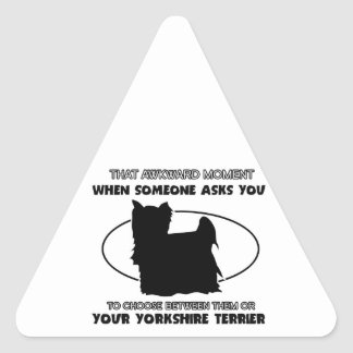 Funny yorkshire terrier designs triangle sticker