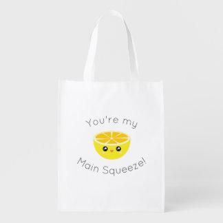 Funny You Are My Main Squeeze Kawaii Lemon Humor Reusable Grocery Bag