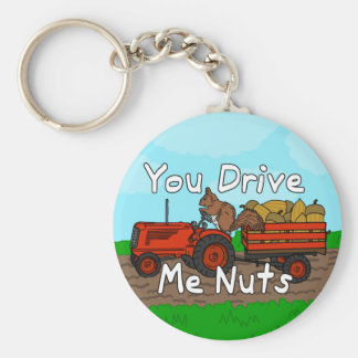 Funny You Drive Me Nuts Squirrel Pun Key Chain