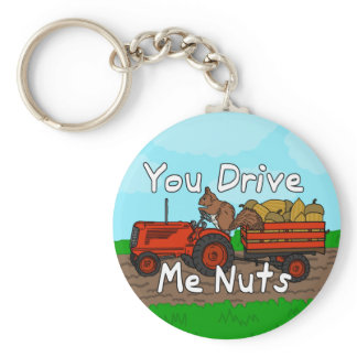 Funny You Drive Me Nuts Squirrel Pun Keychain
