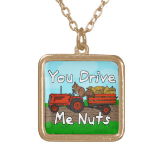 Funny You Drive Me Nuts Squirrel Pun Square Pendant Necklace