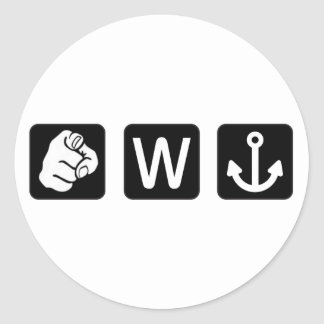 Funny You W Anchor Stickers