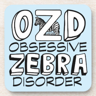 Funny Zebra Blue Beverage Coaster