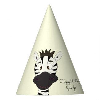 Funny zebra cartoon kids birthday party hat