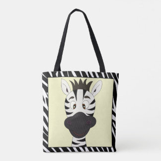 Funny zebra cartoon tote bag