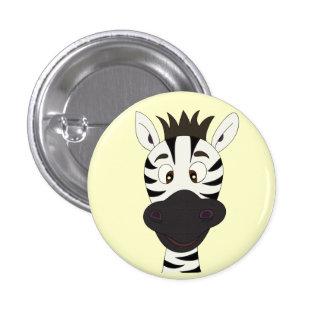 Funny zebra cartoon yellow button