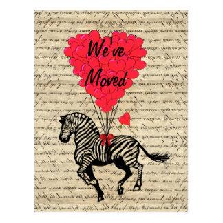 Funny zebra change of address postcard