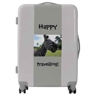 Zebra Close up Picture Suitcase