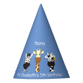 Funny zebra giraffe cow cartoon blue kids birthday party hat