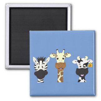 Funny zebra giraffe cow cartoon blue magnet