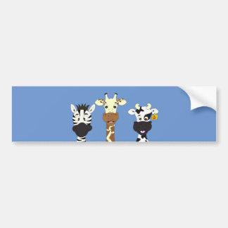 Funny zebra giraffe cow cartoon bumper sticker
