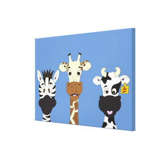 Funny zebra giraffe cow cartoon kids canvas