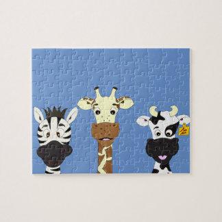 Funny zebra giraffe cow cartoon kids jigsaw puzzle