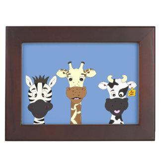 Funny zebra giraffe cow cartoon kids keepsake box