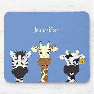 Funny zebra giraffe cow cartoon kids mouse pad