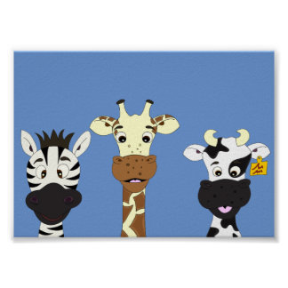 Funny zebra giraffe cow cartoon kids poster