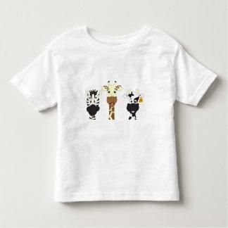 Funny zebra giraffe cow cartoon toddler t-shirt