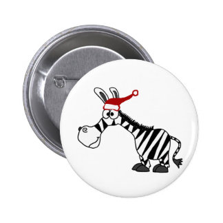 Funny Zebra in Santa Hat Christmas Cartoon Pinback Button