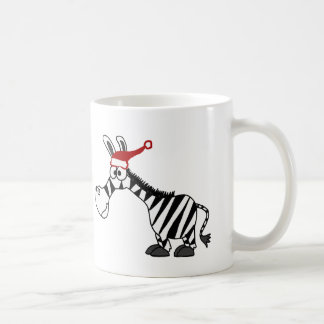 Funny Zebra in Santa Hat Christmas Cartoon Coffee Mug