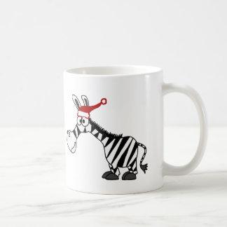 Funny Zebra in Santa Hat Christmas Cartoon Classic White Coffee Mug