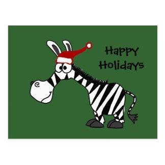 Funny Zebra in Santa Hat Christmas Cartoon Postcard