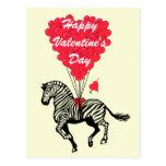 Funny zebra  kids Valentines Post Card